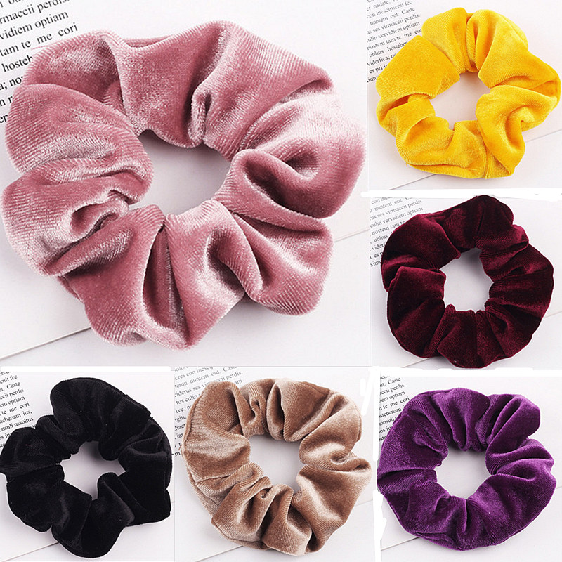 Women Velvet Scrunchie Elastic Hair Band For Girls HairBand Solid Hair Ring Hair Accessories Ponytail Holder Rubber Tie Headwear