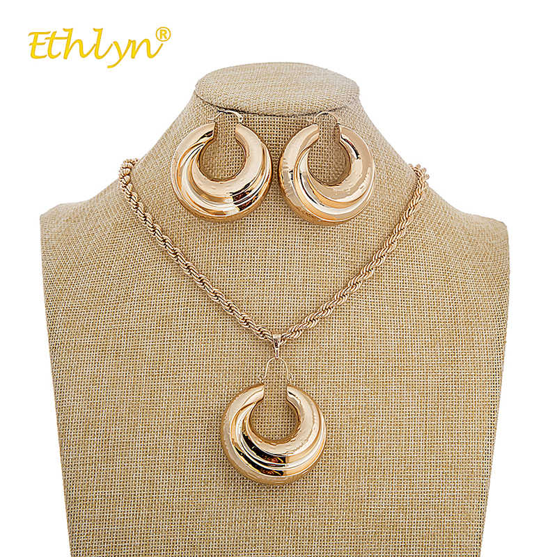 Ethlyn Nigerian/African/Dubai Rose Gold Color Earrings for Women Gold Tone Geometric Earrings Pendant Jewelry Set