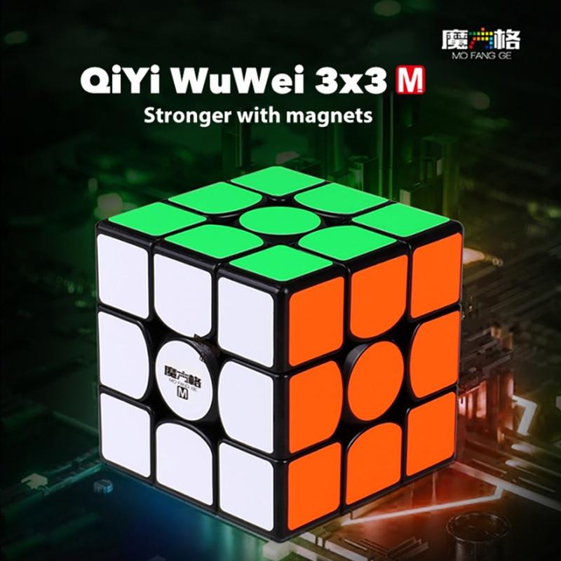 New QiYi MoFangGe WuWei M 3x3 Magnetic Magic Cube Stickerless/Black Cube Professional Magnets Speed WuWei 3x3x3 Cubo Magico 3x3