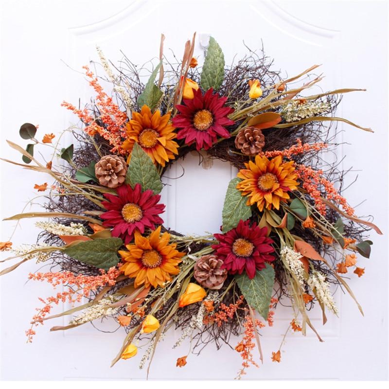 60cm Simulation Sunflower Wreath Retro Door Decoration Wall Decoration Artificial Handmade Wreath For Home Decoration Wreath