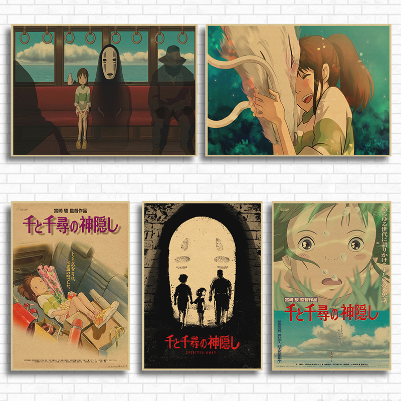 Spirited Away Hayao Miyazaki movie posters kraft Japanese anime anime children's room decorative paintings poster image