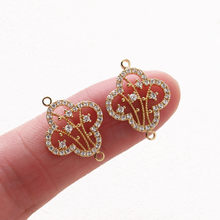 2PCS Jewelry Findings Making Supplies 14k Gold Plated Double Hole Charms Pendant Zircon DIY Earrings Copper Handmade Accessories