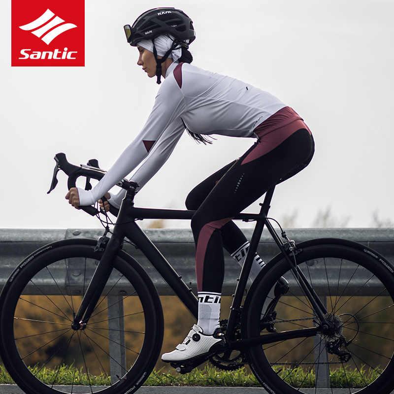 Santic חורף רכיבה על אופניים ג 'רזי נשים ארוך שרוול צמר תרמי MTB כביש אופני ג' רזי פרו צוות אופניים ג 'רזי בגדים