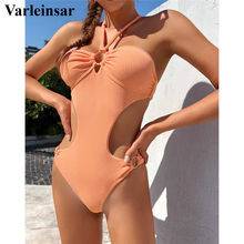 One-Piece Swimsuit Ribbed Female Sexy Lace-Up HALTER Women V2801 Padded Wrinkled Lady