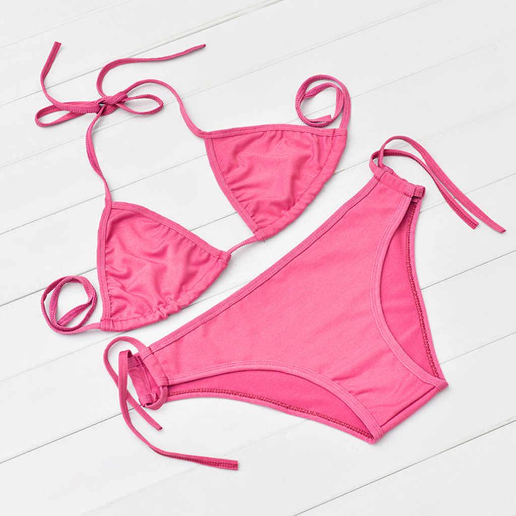Wanita Bikini Baju Renang Set Push-Up Bandeau Bra Perban Pakaian Renang Wanita Baju Renang Bikini 2019 Mujer