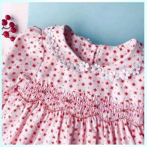 Image 5 - New Spring Autumn Kids Corduroy Printed Peter Pan Collar Handmade Smocking Belt Lace Girls 3 7yrs Full sleeved Cotton Dresses