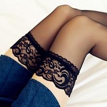 Koronkowe koronkowe pończochy damskie pończochy powyżej kolana seksowne pończochy w połowie rury niewidoczne białe pończochy