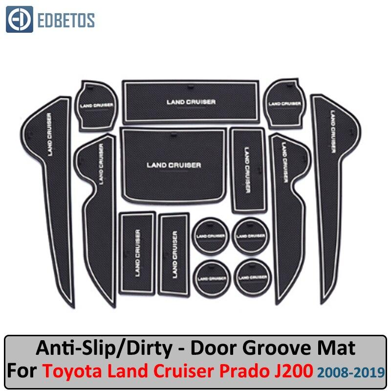 For Toyota Land Cruiser 200 J200 LC200 2008- 2019 Door Groove Mat Land Cruiser V8 Anti-Slip Mat Gate Slot Coaster