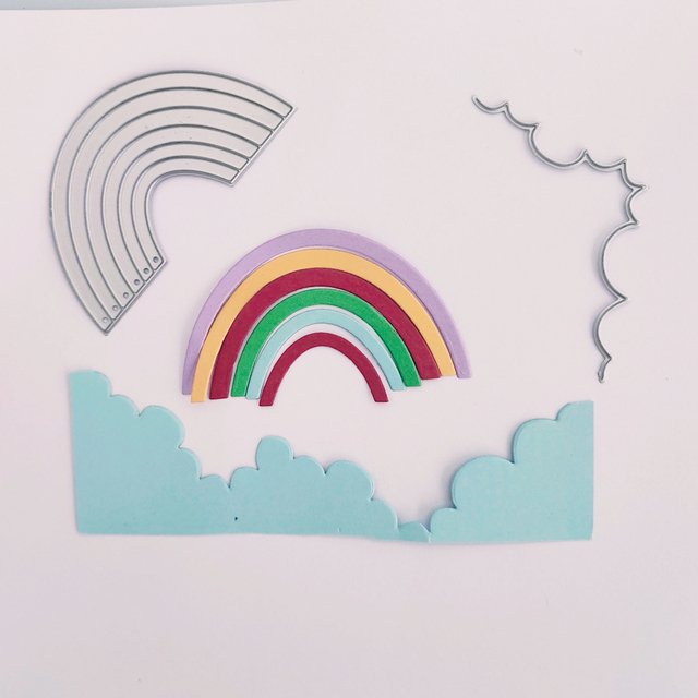 Arc-en-ciel combinaison image nuage arc-en-ciel pont métal coupe moule album à faire soi-même album photo relief artisanat moule