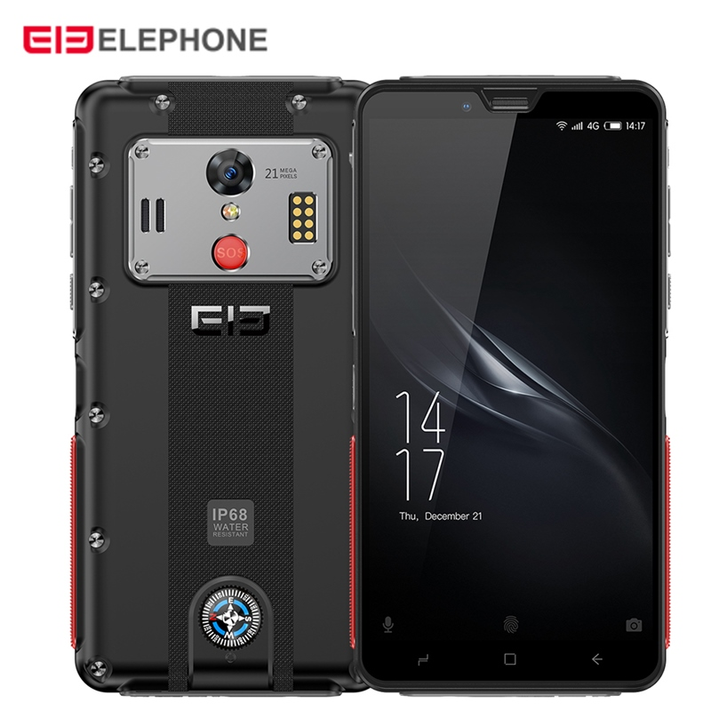 Elephone Soldier 4G Smartphone 5.5 Inch Android 8.0 MTK X25 4GB RAM 128GB ROM 21.0MP Rear Camera IP68 5000mAh Mobile Phone