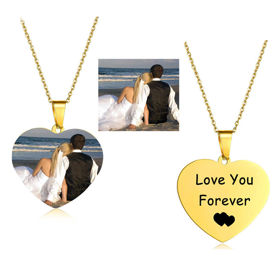 Personalized Name Custom Necklace Gold Choker Women Men Heart Customized Photo Nameplate Silver Chain Necklaces Gift Jewelry