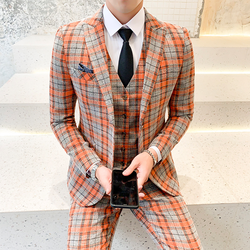 Vestito Uomo Elegante Costume Homme Mariage Plaid Italian Smoking Jackets Mens Wedding Suits Ternos