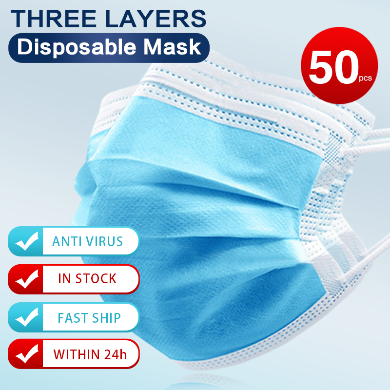 100pcs Anti-dust 3 Laye Disposable Mouth Mask Korean Hygiene Mask Face Anti Pollution Breathing Mask Safety Dust Mask