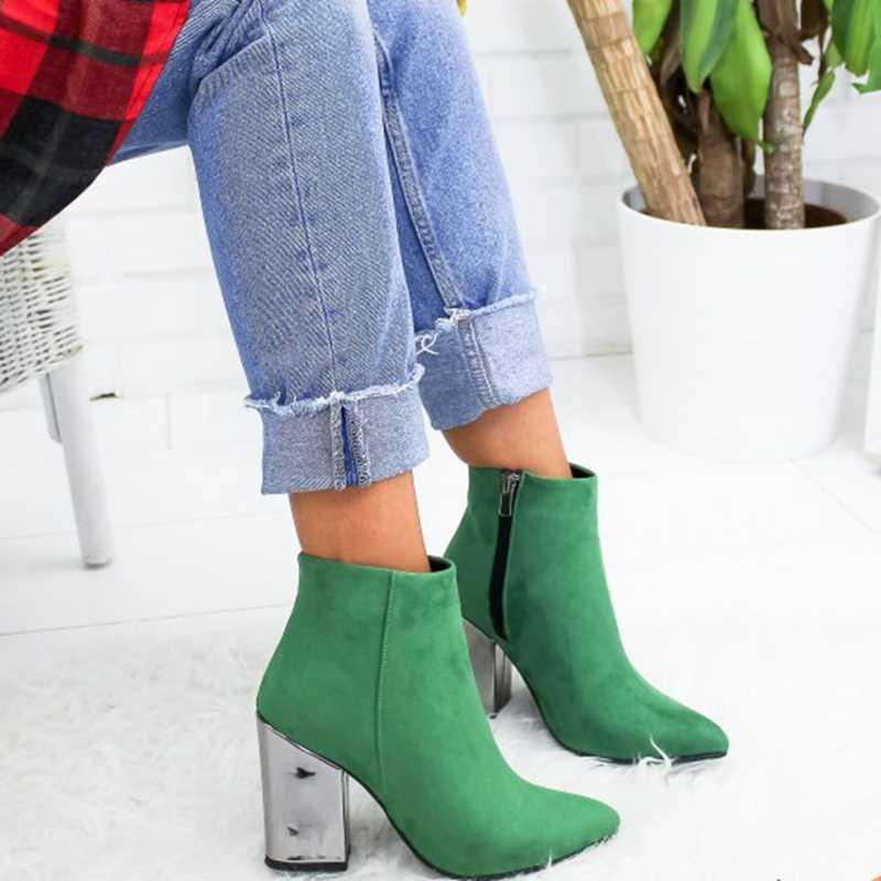 ใหม่ 2019 ผู้หญิงรองเท้าข้อเท้า Flock Toe รองเท้าฤดูใบไม้ร่วงฤดูใบไม้ผลิ 2019 ใหม่รองเท้าส้นสูงรองเท้า Botas Mujer dropship 35-43