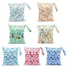 Nappy Diaper-Bag Wetbags Baby Waterproof Cloth Zipper Print Travel 30x36cm Reusable Single