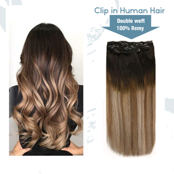 VeSunny Double Weft Clip in Hair Extensions Human Hair 7pcs 120gr Clip on Hair Balayage Ombre Brown Highlighted Blonde #2/6/18A full shine clip in human hair extensions balayage ombre color 10pcs 100g double weft 100