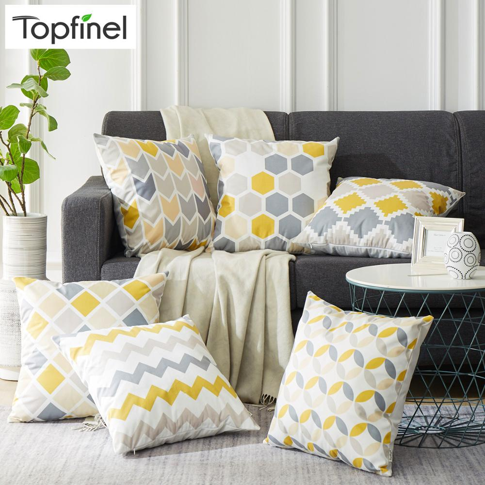 Topfinel Gray And Yellow  Geometric Nordic Cushion Cover Microfiber Throw Pillow Cover Cushion Case Sofa Bed Decorative Pillow