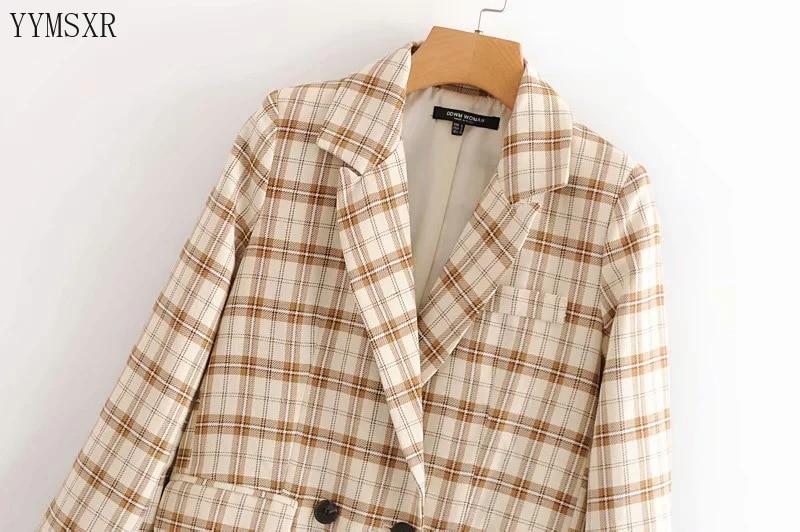 Elegant women's small suit coat 2020 new autumn loose plaid mid-length ladies blazer jacket Feminine Retro Female Jacket top