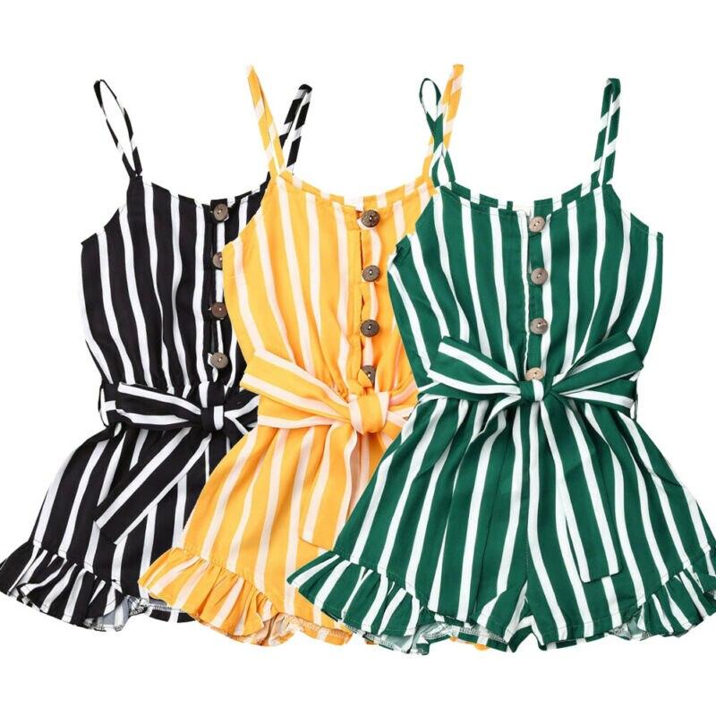 Toddler Girls Overalls Striped Bodysuits Kids Toddler Baby Girl Bodysuit Romper Jumpsuit Playsuit Sunsuit Clothes Set 3-7Y