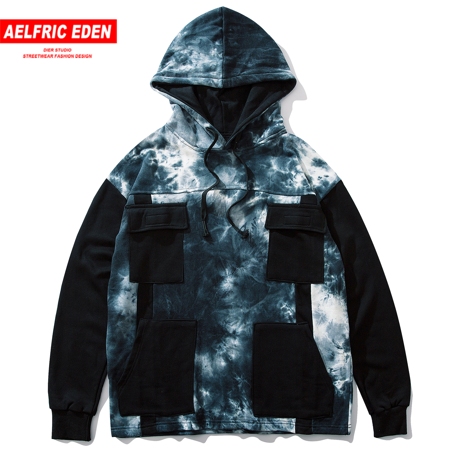 Aelfric Eden Fashion Patchwork Pockets Mens Hooded Sweatshirts Harajuku Hoodies Male Casual Cotton Hip Hop Pullover Streetwear