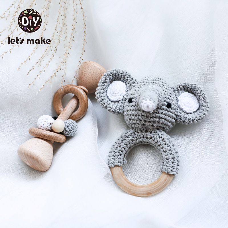 Let's Make Rattle Set 1set/2PC Crochet Animal Elephant Owl Rattle Bell Newborn Montessori Toy Educational Make Noise Baby Rattle