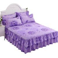 Household Korean Fashion Design Bilateral Bed Skirt + 2 Pair Of Pillowcase Bed Skirt 3Pcs Sets Bed Linings