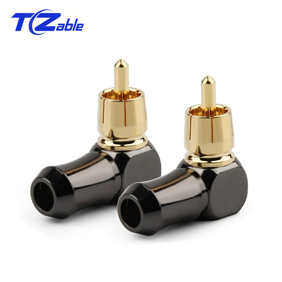 RCA Connector Male L Type 90 Degree Curved RCA Right Angle Elbow Converter RCA Plug Gold Plated Solder Wire Audio Adapter