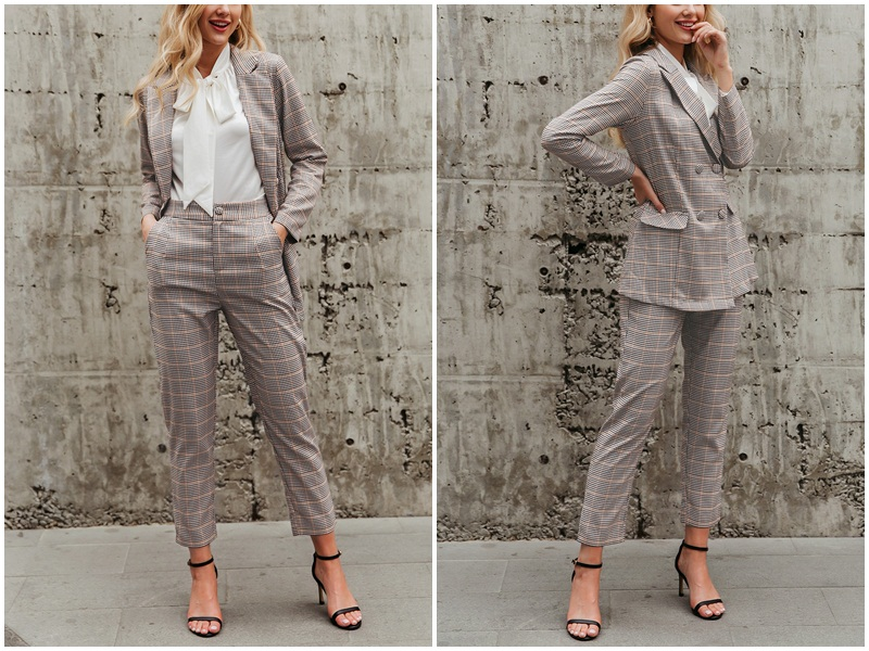 Hef0a6188f6384452a3ce0969b9f46862j - BerryGo Womens business suit plaid pant suits female Office ladies double breasted ladies suits Spring two-piece blazer suit set