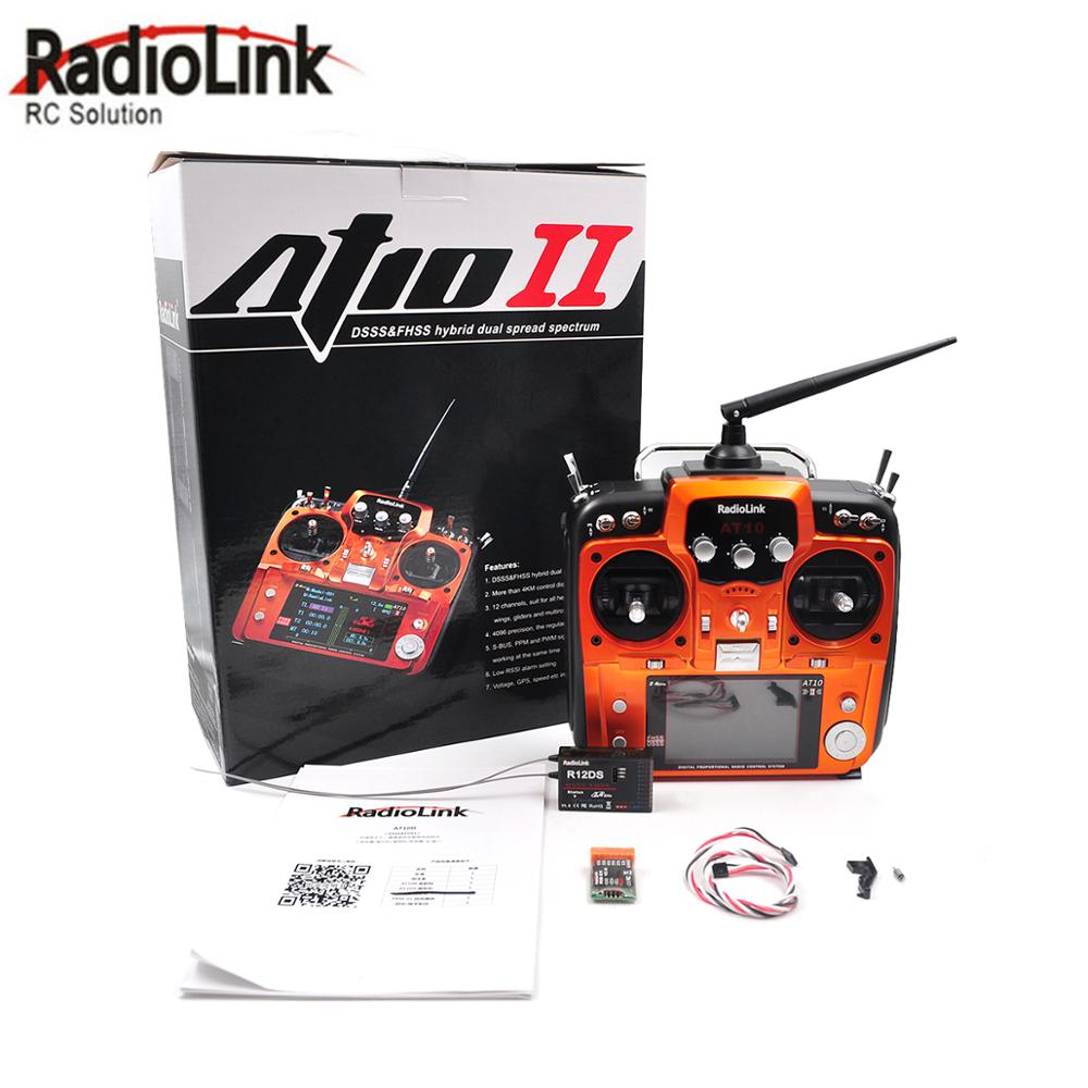 RadioLink AT10 II 2 4Ghz 12CH Transmitter With R12DS Receiver PRM-01 Voltage Return Module Battery for RC Quadcopter Fixed Wing