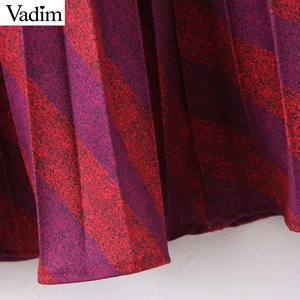 Image 3 - Vadim موضة النساء مخطط مطوي تنورة الجانب سستة Europen نمط ميدي تنورة الإناث عادية منتصف العجل التنانير BA885