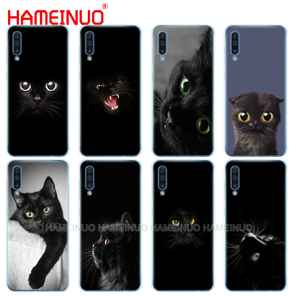 silicon <font><b>phone</b></font> cover <font><b>case</b></font> for <font><b>Samsung</b></font> Galaxy S10 E PLUS A10 A20 A30 A40 A50 A70 A10E <font><b>A20E</b></font> M20 cover Black <font><b>Cat</b></font> Staring Eye On image