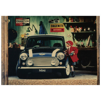 Little boy and mini-car nostalgic poster pictorial retro kraft paper poster dormitory decoration painting core wall stickers image