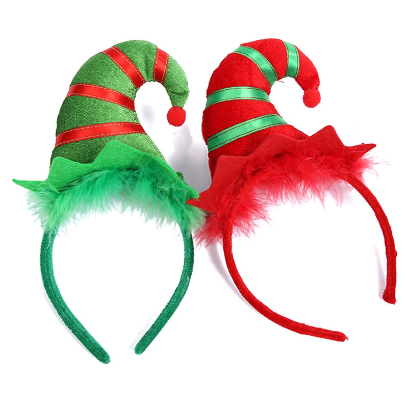 2PCS Christmas Hat Xmas Hot Christmas Decorations For Home Headband Santa Xmas Party Decor Double Hair Band Clasp Head Hoop