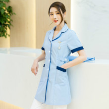 Nurses wear short sleeves female summer salon cosmetologist dental work clothes can be customized high-end logo printing