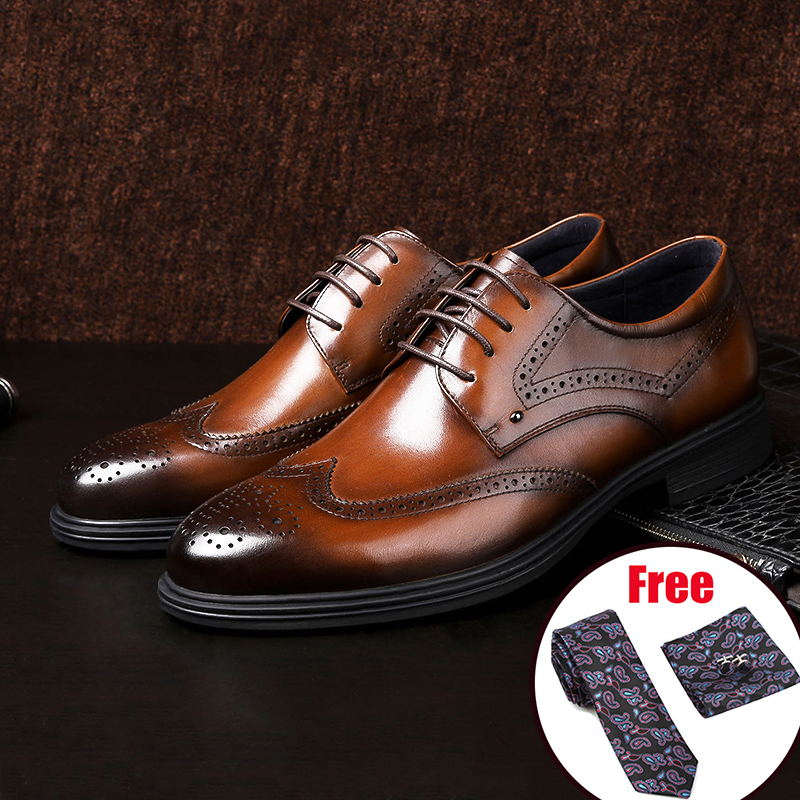 US $73.42 49% OFF|Men Genuine cow leather brogue wedding Business mens casual flats shoes 2019 black vintage oxford shoes for men's shoes in Formal