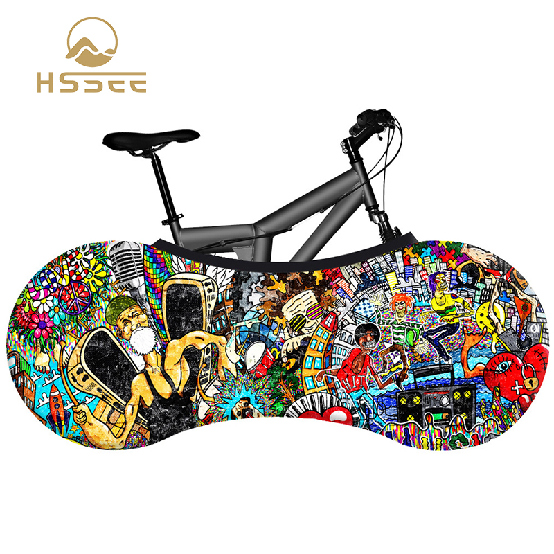 HSSEE 2020 Graffiti Series Bicycle Indoor Dust Cover High Quality Elastic Fabric Road Bike Cover Green Paint Bicycle Accessories