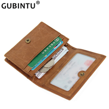 Rfid Blocking Mini Wallet Men Genuine Leather Small Wallet Vintage Hasp Name Card Holder Short Handy Change Purse Unisex Purse