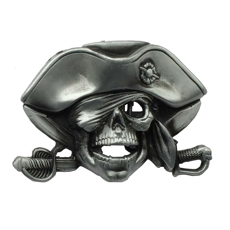 PIRATE SKULL BELT BUCKLE METAL WITH SWORDS