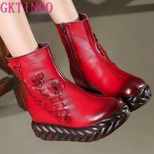 Gktinoo nova 2020 moda feminina botas de couro genuíno artesanal do vintage plataforma plana tornozelo botines sapatos mulher inverno botas