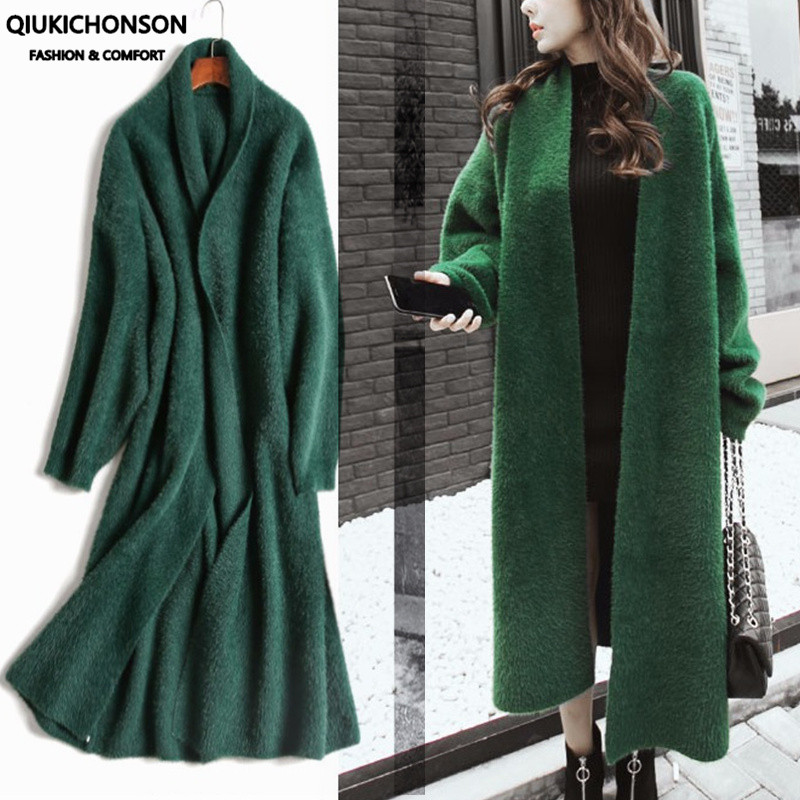 Synthetic Mink Cashmere Sweater Cardigan Women Winter Coat Batwing Sleeve Knitted Long Cardigan Thick Plus Size Fluffy Sweaters