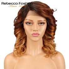 Rebecca L-pelucas de cabello humano para mujeres negras, malla con división frontal, rizado en espiral, Remy peruano, peluca rizada suelta de 14 pulgadas, envío gratis