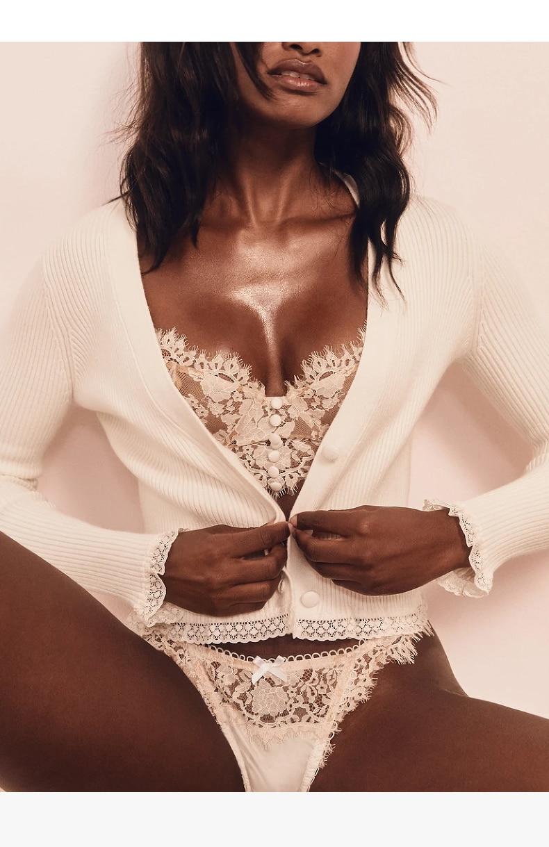 Hef0b8b906a584237b8bd86150e98f8e2V Sexy Lingerie French Women's underwear Mesh Cutout Lace Flower Embroidery Bralette Bra Comfort Push up Eyelash Female Underwear