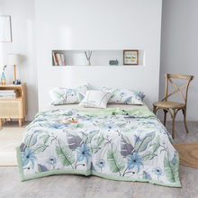 Edredón de lavado de aire acondicionado de poliéster, suave, transpirable, cobija fresca, fina, estampado, colcha, cubierta de cama, Verano