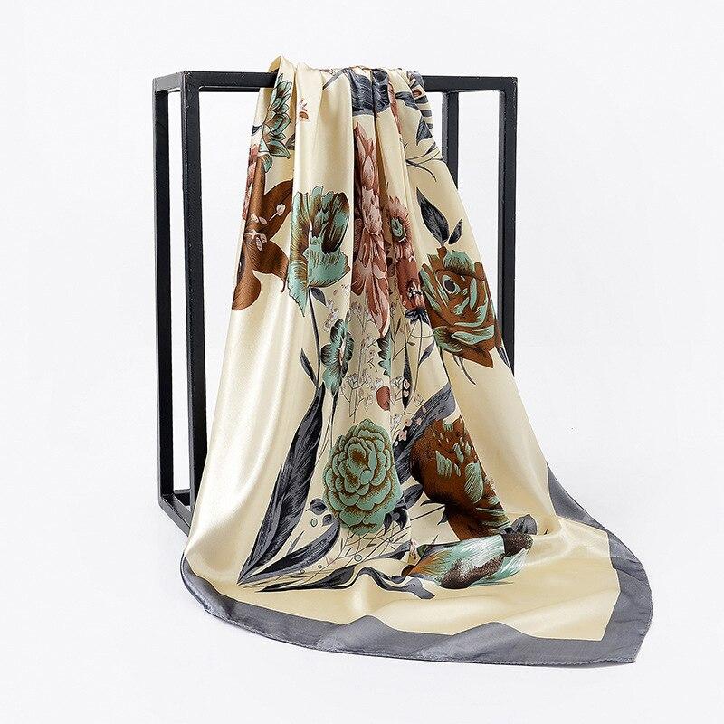 2019 Kerchief Women Silk Satin Hijab Scarf Fashion Print Handkerchief Bag Hair Scarfs Female 90*90cm Square Shawls Neck Scarves
