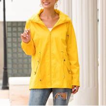 Fashion Yellow Thin Coat With Hooded Solid Color Basic Jacke