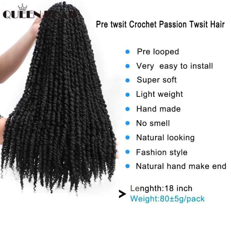 18 Inch Ombre Pre Twisted Passie Twist Haak Hair Pre-Lus Pluizige Gehaakte Vlecht Haar Ombre Synthetische Vlechten Haar 11 Strengen
