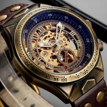Vintage Mechanical Automatic Watch Men Steampunk Skeleton Self Winding Watch Retro Leather Wristwatch Male Clock montre homme