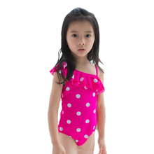 New Model Kid Girls One Piece Swimsuit 2-7 Y Baby Girl Pink with Dots Swimwear Children Swim Wear Child Bathing Suit цена