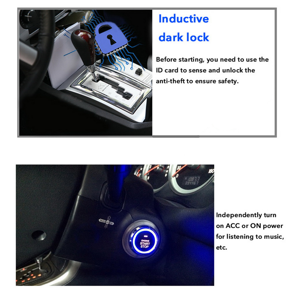 12V Car Start Stop Button Engine Push Start Button Alarm 5