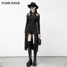 PUNK RAVE Girl's Punk Dark Temperament Knitted Slim Rose Print Long Dress Club Long Sleeve Women Sexy Dress
